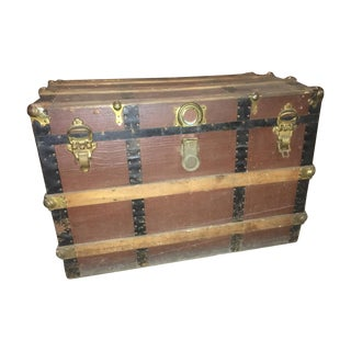 Antique Wood Slat Flat Top Trunk