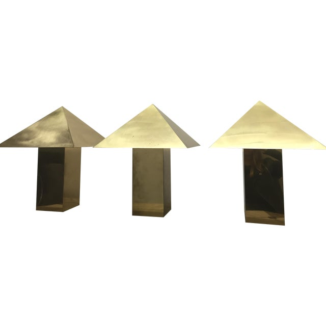 Image of Chapman Brass Pyramid Lamps- Set of 3