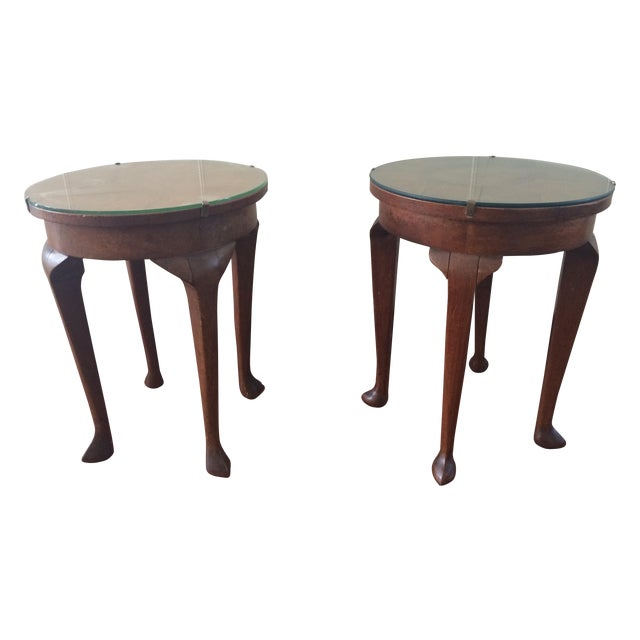 Image of Vintage Inlaid Teak Accent Tables - A Pair
