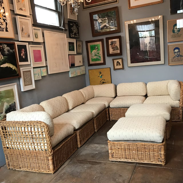 Vintage Rattan Sectional Sofa Set - Image 2 of 11