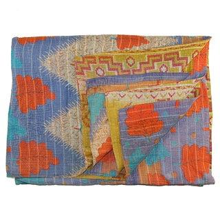 Vintage Blue & Orange Kantha Quilt