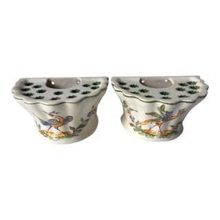 French Quimper Moustier Flower Holders - a Pair