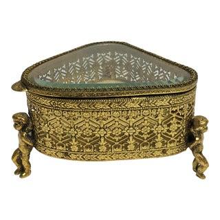 Hollywood Regency Goldtone Triangular Cherub Box
