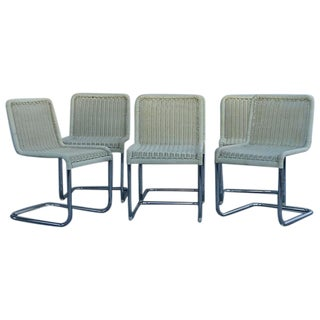 Faux Rattan Cantilever Chrome Chairs - Set of 6