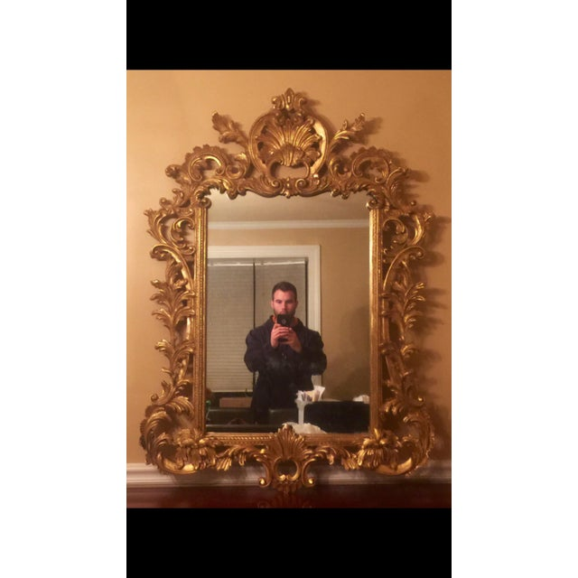 Gold Gilt Ornate Wood Wall Mirror - Image 4 of 6