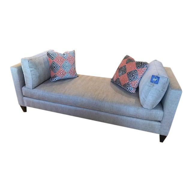 Bernhardt saxon gray tweed chaise chairish for Bernhardt chaise
