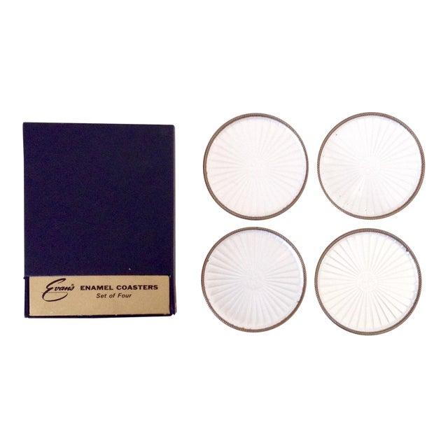 Vintage Pearl White Enamel Coasters - Set of 4 - Image 1 of 5