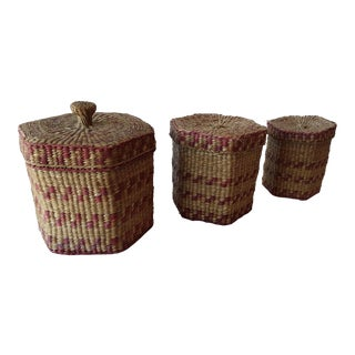 American Indian Grass Nesting Baskets- Set of 3