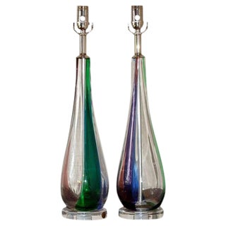 Tri-Colored Murano Lamps by Venini