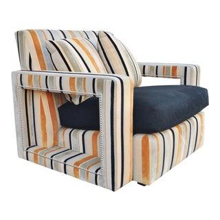 Hollywood Regency Modern Striped Upholstered Chair