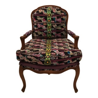Purple Guatemalan Upholstered Bergere Chair