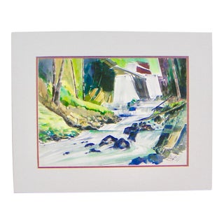 Berghoff Sierra Stream Modernism Watercolor and Gouache Painting