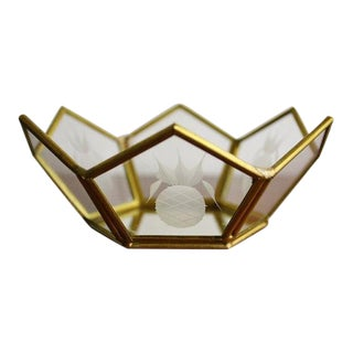 Vintage Contemporary Brass & Glass Dish