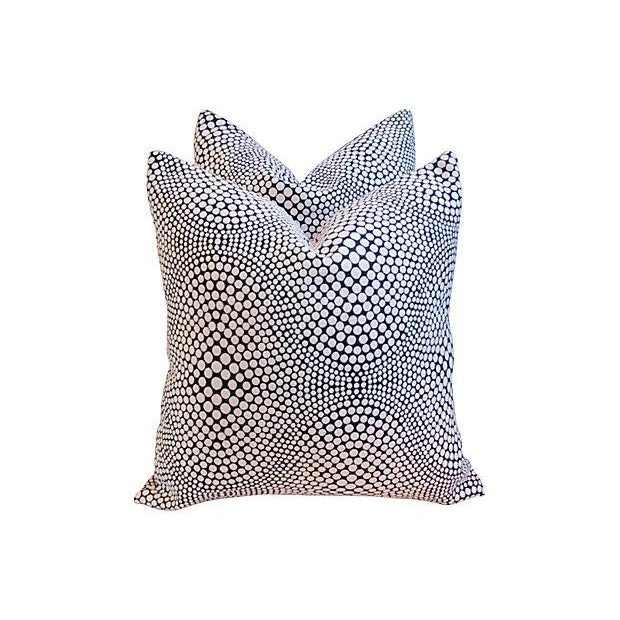 Modern Geometric Abstract Dot Pillows - A Pair - Image 7 of 7