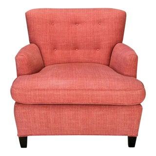 1940s Raspberry Red Linen Dunbar Style Club Chair