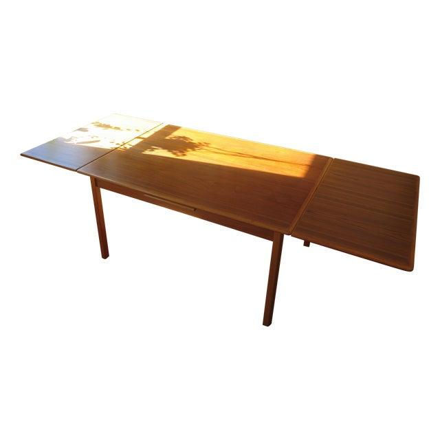 Danish Mid Century Mod Teak Draw Leaf Dining Table - Image 1 of 7