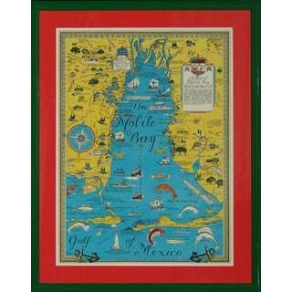 Vintage Map 'On Mobile Bay' by Marion Ackes