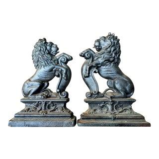 Vintage Guardian Lion Andirons