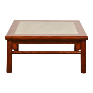 20th Century Ming Elm Coffee Table with a Mint Green Stone Center Top