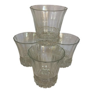 Vintage Crystal Double Old Fashion Glasses - Set of 4