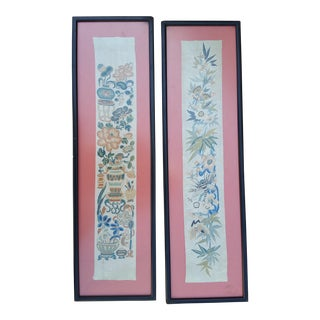 Chinese Antique Embroidered Panels - A Pair