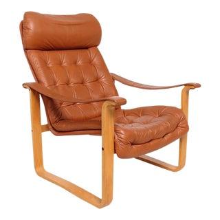 Mid-Century Modern Finland Leather Armchair