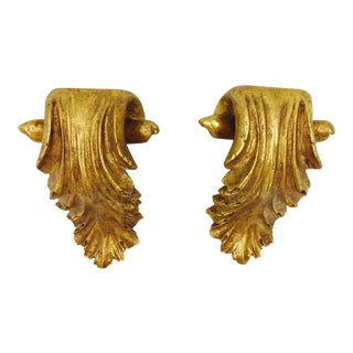 Gilded Gold Wall Shelf Sconce - A Pair
