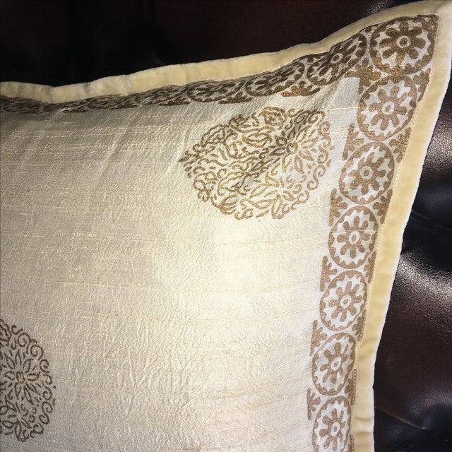 Luxury Silk Decorative Pillows : Luxury Raw Silk Block Print Decorative Pillow Chairish