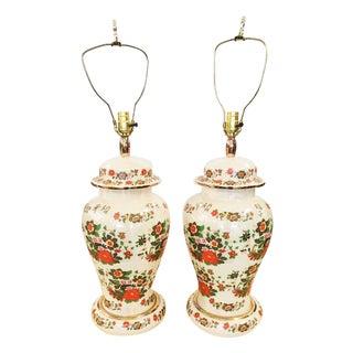 Vintage Ginger Jar Chintz Lamps - Pair