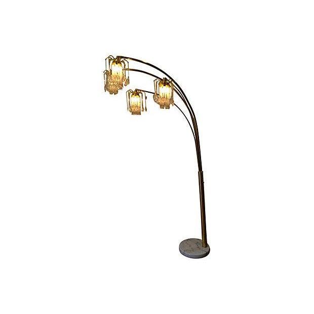 4 arm brass swing floor lamp chairish. Black Bedroom Furniture Sets. Home Design Ideas
