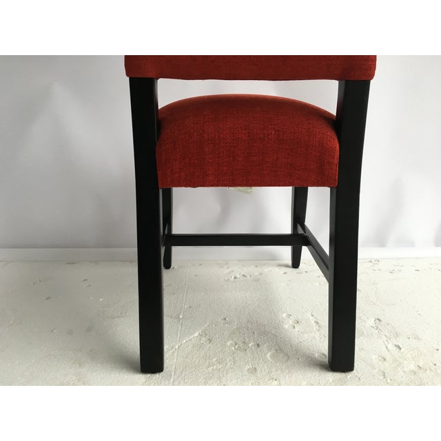 Image of Transitional Red Chenille Dining Chairs - Set of 4