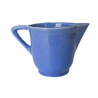 Vintage Small Blue Ceramic Stoneware Pitcher