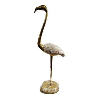 Palm Beach Regency Style Brass Flamingo Floor Sculpture