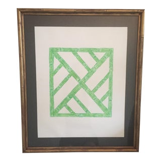 Palm Beach Regency Faux Bamboo Framed Trellis Art