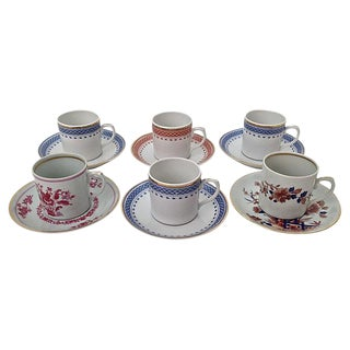Vista Alegre Mottahedeh Coffee Cups & Saucers- Set of 6