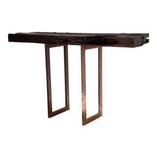 Natural Edge Yakisugi Tv Stand Console Table