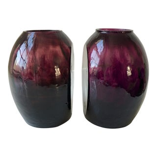 Vintage Art Glass Bookend Vases - a Pair