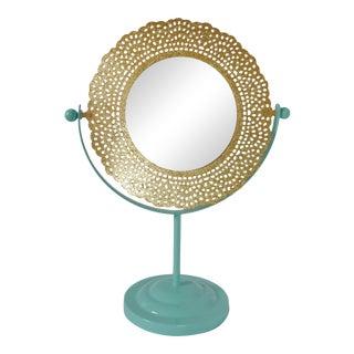 Turquoise & Gold Vanity Mirror