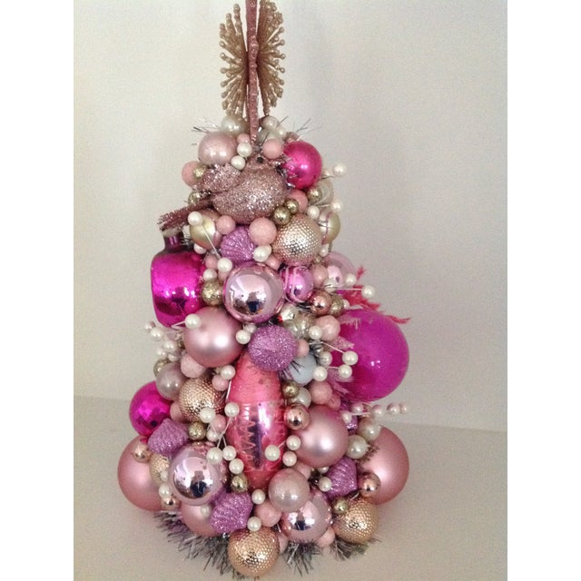 Vintage Pink Pearl Christmas Ornament Topiary Tree - Image 4 of 7