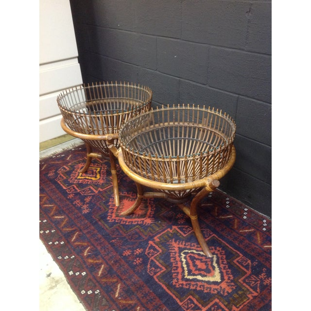 Image of Mid-Century Fish Basket Side Tables - A Pair