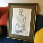 Image of Framed Vintage Drawing of a Woman