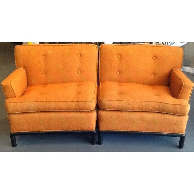 Image of Orange Tufted Mid-Century Sectional Sofa