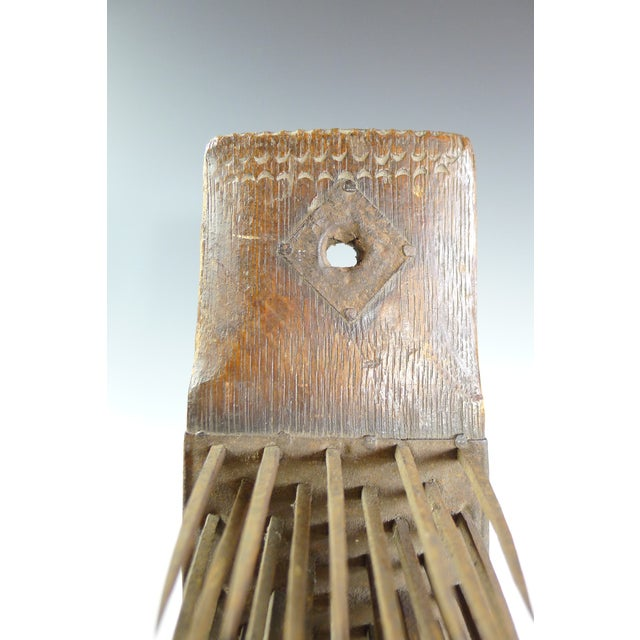 Antique 19th Century Wood and Iron Flax Comb Tool - Image 3 of 7