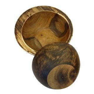 Vintage Nesting Bowls in Dark Smooth Hard Wood
