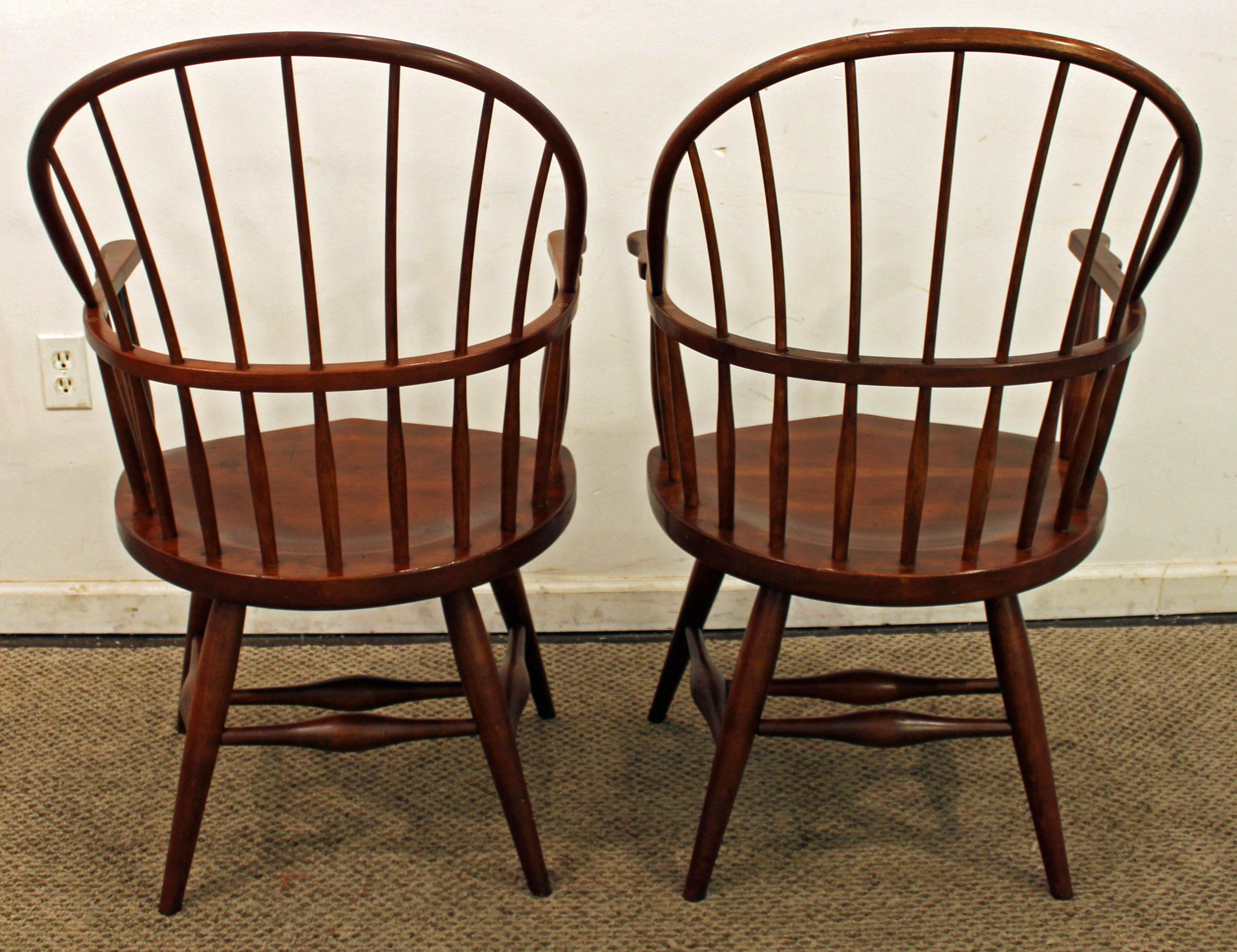 Duckloe Bros Cherry Hoop Back Windsor Arm Dining Chairs   A Pair   Image 4