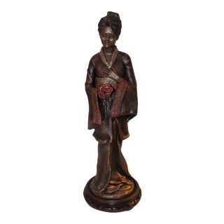 Asian Woman Statue in Kimono Sculpture