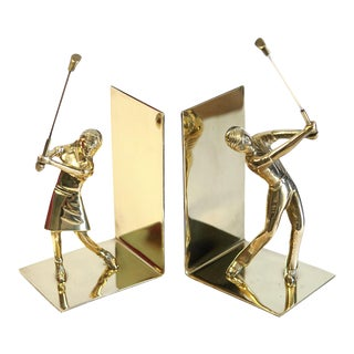 Brass Golf Bookends - a Pair