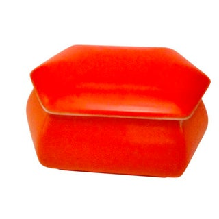 English Orange Art Pottery Lidded Box