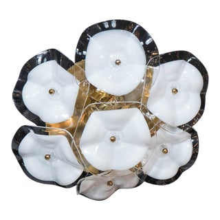 Exquisite Flush Mount Chandelier in Brass and Two-Toned Glass Flowers by Mazzega