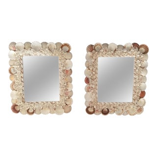 Nautical Coastal Beach House Palm Beach Seashell Mirrors - a Pair
